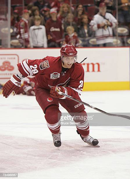 Yanick Lehoux of the Phoenix Coyotes warms up prior to their NHL game against the Columbus Blue Jackets on March 3 2007 at the Jobingcom Arena in...