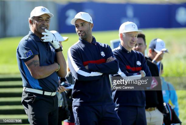Yanick Noah of France on the second hole with James Blake and John McEnroe during the Celebrity Challenge Match as a preview for the 2018 Ryder Cup...