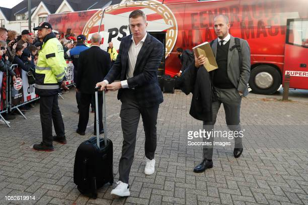 Yanick van Osch of PSV arrives with the players bus during the Dutch Eredivisie match between PSV v FC Emmen at the Philips Stadium on October 20...