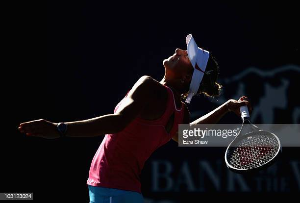 Yanina Wickmayer of Belarus serves to YungJan Chan of Chinese Taipei during Day 2 of the Bank of the West Classic at Stanford University on July 27...