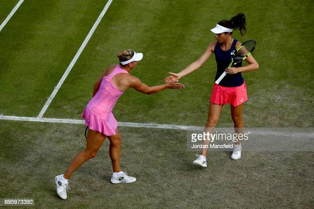 Yanina Wickmayer of Belgium and Johanna Konta of Great Britain during their Women's doubles first round match against ChiaJung Chuang of Chinese...