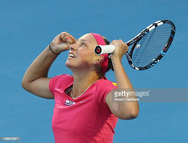 Yanina Wickmayer of Belgium celebrates a point againsts Shahar Peer of Israel during the singles semi final match on day six of the 2012 Hobart...