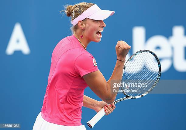 Yanina Wickmayer of Belgium celebrates winning her match against Marina Erakovic of New Zealand during day two of the 2012 Hobart International...
