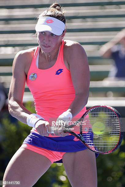 Yanina Wickmayer of Belgium plays a backhand shot in her match against Qiang Wang of China during day two of the 2017 Priceline Pharmacy Classic at...