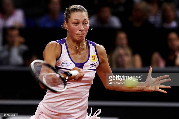Yanina Wickmayer of Belgium plays a forehand during her second round match against Justine Henin of Belgium at day four of the WTA Porsche Tennis...