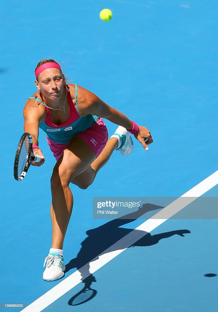 Yanina Wickmayer of Belgium plays a forehand in the final against Agnieszka Radwanska of Poland during day six of the 2013 ASB Classic at ASB Arena on January 5, 2013 in Auckland, New Zealand.