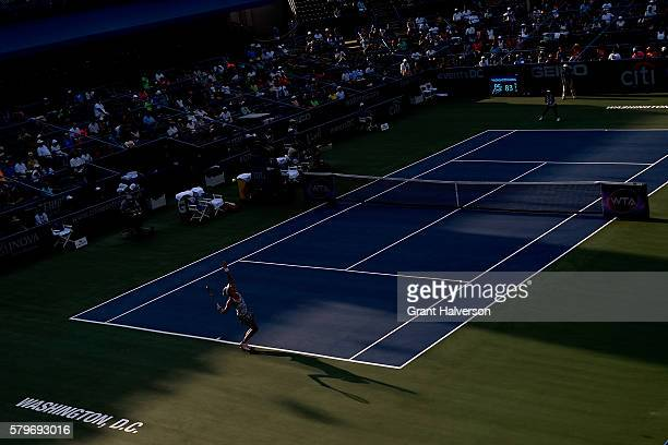 Yanina Wickmayer of Belgium serves to Lauren Davis of the United States in the women's singles final of the Citi Open at Rock Creek Tennis Center on...