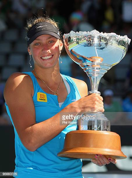 Yanina Wickmayer of Belguim holds the winners trophy following her singles final match against Flavia Pennetta of Italy on day six of the ASB Classic...