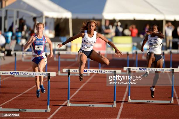 Yanique Haye of Lincoln University competes in the 400 meter hurdles during the Division II Men's and Women's Outdoor Track and Field Championships...