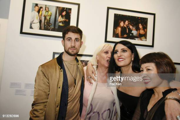 """Yanis Bargoin, a guest, Sylvie Ortega Munos and Ken Okada attend """"20 ans aux Bains Douches"""" : Night Clubbing Photo Exhibition Preview at Les Bains..."""