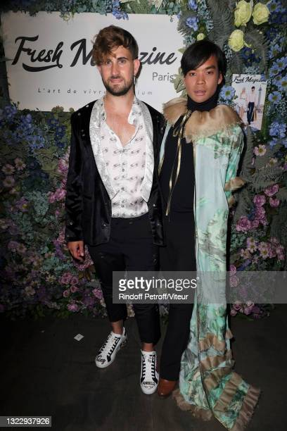 """Yanis Bargoin and Jeremy Bellet attend the """"Fresh Magazine"""" launch party on June 10, 2021 in Paris, France."""
