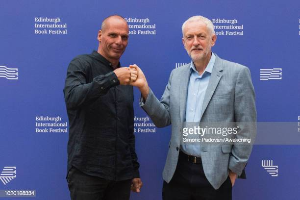 Yanis Varoufakis and Jeremy Corbyn attend a photocall during the annual Edinburgh International Book Festival at Charlotte Square Gardens on August...