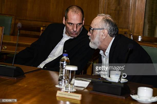 Yanis Varoufakis and Panagiotis Kouroublis during a meeting of the Governmental Council of Greece on March 29 2015 in Athens at the Hellenic...