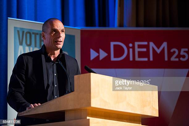 Yanis Varoufakis former finance minister of Greece speaks at a Diem25 event at The UCL Institute of Education on May 28 2016 in London England...