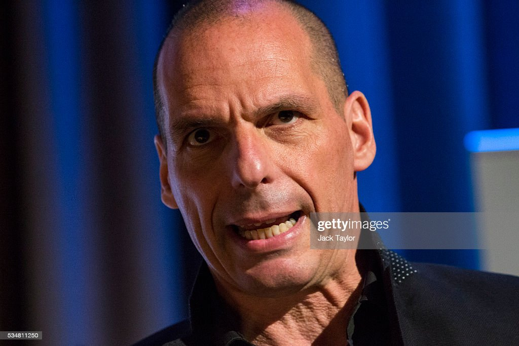 Yanis Varoufakis, former finance minister of Greece, speaks at a Diem25 event at The UCL, Institute of Education on May 28, 2016 in London, England. Left-wing politicians and thinkers were today campaigning at the DiEM25 event to stay in the European Union ahead of the EU referendum on the 23rd of June.