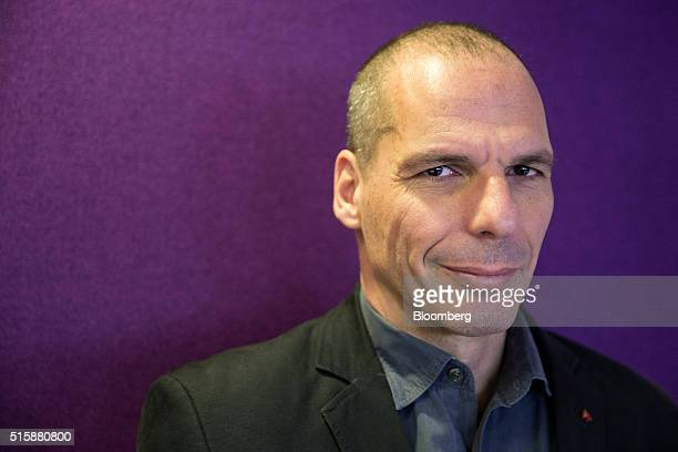 Yanis Varoufakis former Greek finance minister poses for a photograph following a Bloomberg Television interview in Athens Greece on Wednesday March...