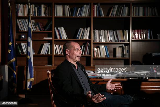 Yanis Varoufakis Greece's finance minister speaks during a Bloomberg Television interview at his office in Athens Greece on Wednesday Feb 25 2015...