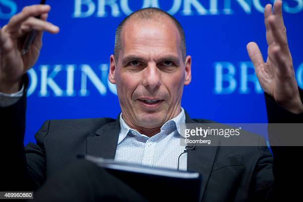 Yanis Varoufakis Greece's finance minister speaks during a panel discussion at the Brookings Institution on the sidelines of the International...
