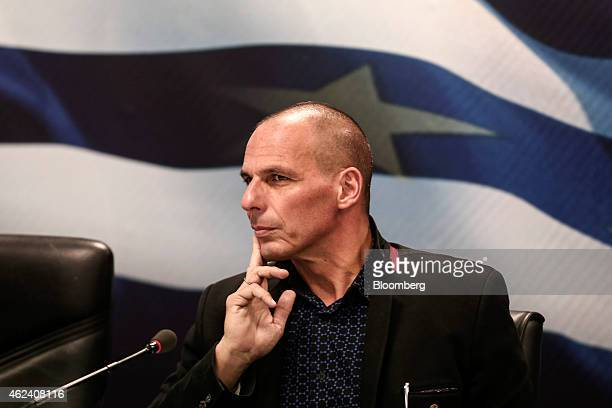 Yanis Varoufakis, Greece's incoming finance minister, attends the handover ceremony in Athens, Greece, on Wednesday, Jan. 28, 2015. Varoufakis, is...