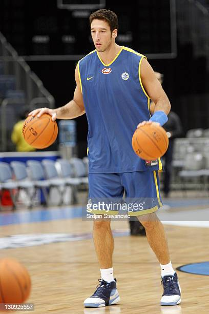 Yaniv Green of Maccabi Tel Aviv basketball team attends training session at the Koeln Arena in Cologne Germany Monday Oct 9 2006 Moscow will play...