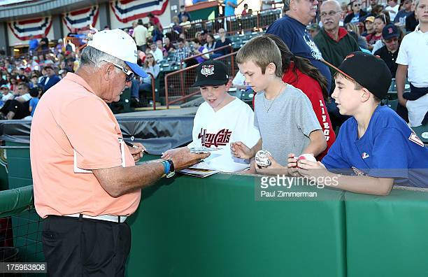 Yankee Great Tommy John visits Troy New York as part of The Mobil Super 'Go The Distance' Minor League Baseball Tour on August 10 2013 in Troy United...