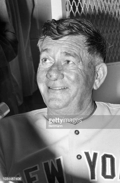 Yankee manager, Bob Lemon, who took over from Billy Martin in July and let the team to the world championship, flashes a victory smile after...