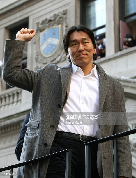 Yankee outfielder Hideki Matsui celebrates during the 2009 New York Yankees World Series Victory Parade on November 6 2009 in New York City