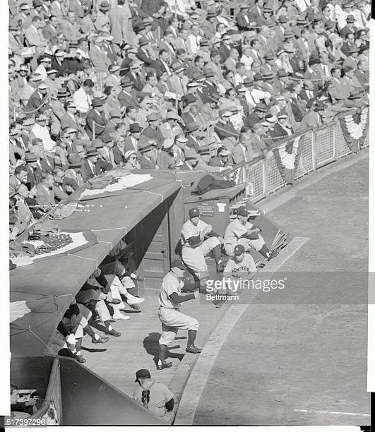 Yankee pilot Casey Stengel directs his offensive alignment at the Polo Grounds October 8th in the first inning of the fourth World Series game...