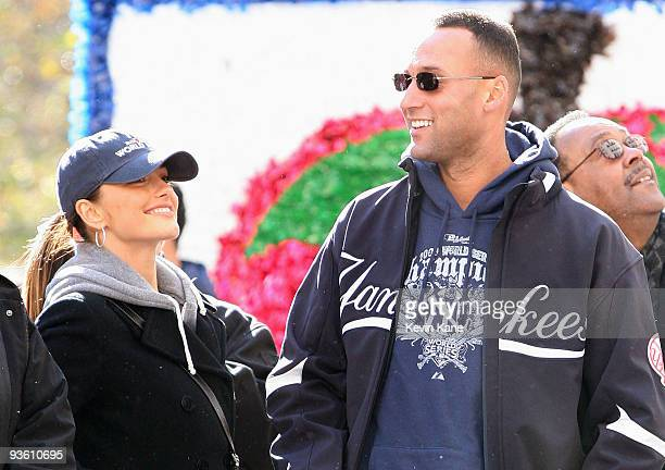 Yankee shortstop, Derek Jeter celebrates with his girlfriend, Minka Kelly during the 2009 New York Yankees World Series Victory Parade on November 6,...