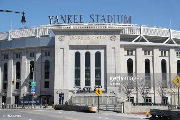 Yankee Stadium is empty on the scheduled date for Opening Day March 26, 2020 in the Bronx, New York. Major League Baseball has postponed the start of...