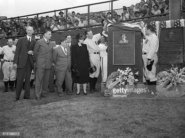 Yankee Stadium was hushed this afternoon just before the twin bill of the Yankees and the Philadelphia Athletics as a memorial tablet to Lou Gehrig...
