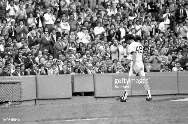 Yankees ace pitcher Ron Guidry #49 receives a standing ovation from Yankee fans as he leaves the game after pitching six and one third innings