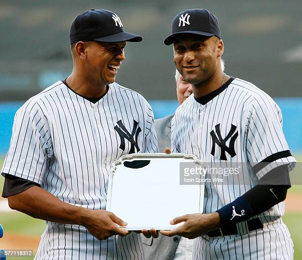 Yankees Alex Rodriguez and Derek Jeter in a pregame ceremony to honor ARod's 500th home run at Yankee Stadium in New York USA