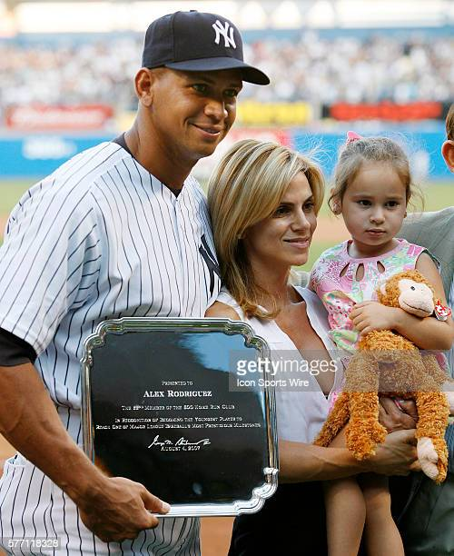 Yankees Alex Rodriguez with wife Cynthia and daughter Natasha in a pregame ceremony to honor ARod's 500th home run at Yankee Stadium in New York USA