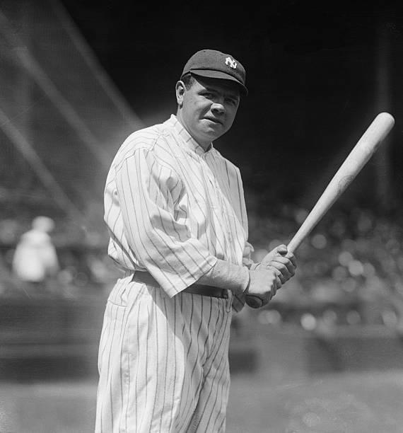 Yankees' baseball champion, Babe Ruth, preparing to bat at the opening game at the Polo Grounds, New York, on April 22, 1920.