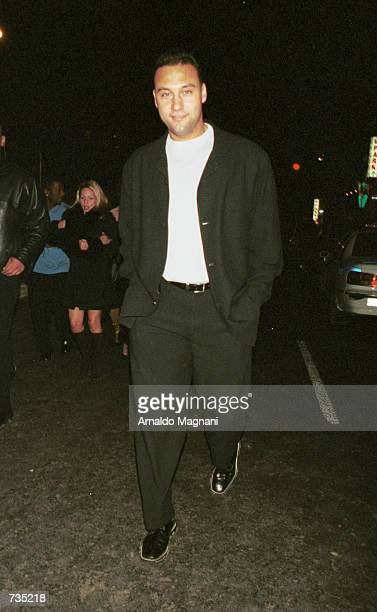 Yankees baseball star Derek Jeter arrives solo at the Roseland Ballroom to bring in the new year on New Year's Eve December 31 2000 in New York City