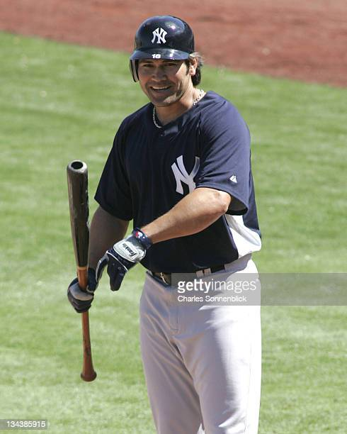 Yankees centerfielder Johnny Damon is all smiles in a spring training game against the Phillies on March 4 2007 at Bright House Networks Field in...