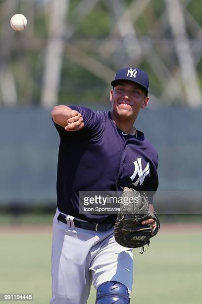 2018 Yankees first round pick Anthony Seigler warms up before the Gulf Coast League game between the GCL Yankees West and the GCL Phillies West on...