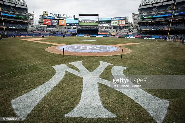 NY Yankees Logo and New York City FC Logo prior to the soccer Match Soccer 2015 MLS New York City FC vs New England Revolution on March 15 2015 at...