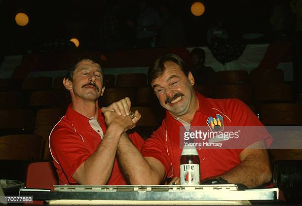 Yankees Manager Billy Martin and football great and broadcaster Dick Butkus tape a Miller Lite commercial December 2, 1981 in New York City.