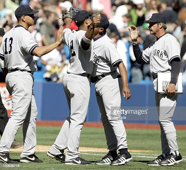 3f7fd14c16d NYY Yankees Mariano Rivera and 1B coach Tony Pena congratulate one another  after the Yankees 31. Baltimore Orioles v New York Yankees