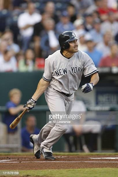 Yankees outfielder Johnny Damon of the New York Yankees at the plate during action against the Kansas City Royals at Kauffman Stadium in Kansas City...