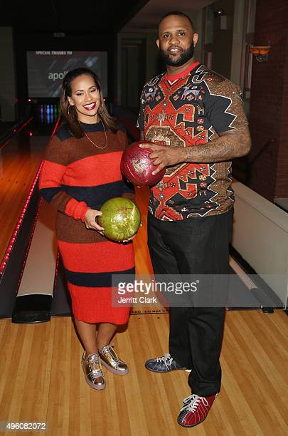 Yankees Pitcher CC Sabathia and wife Amber Sabathia bowl at their PitCCh In Foundation's 5th Annual CC Challenge rules party at Bowlmor Lanes on...