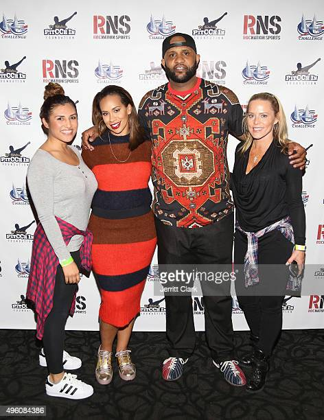 Yankees Pitcher CC Sabathia and wife Amber Sabathia pose with Rachel Ortiz and Michelle SerafinSeelinger at their PitCCh In Foundation's 5th Annual...