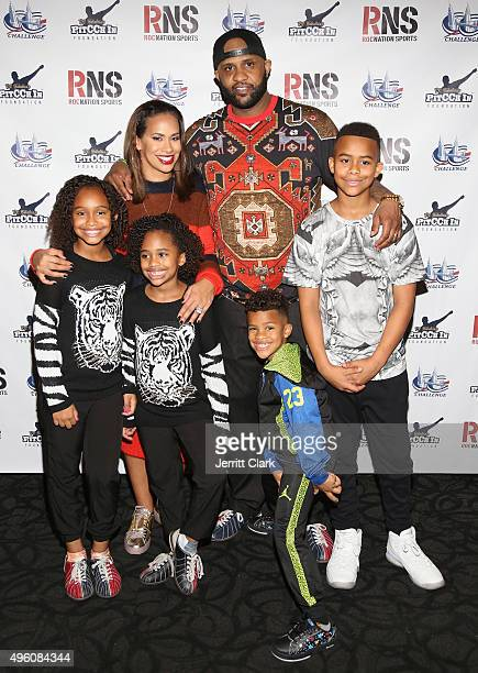 Yankees Pitcher CC Sabathia and wife Amber Sabathia pose with their kids Jayden Cyia Carter and Lil C at their PitCCh In Foundation's 5th Annual CC...