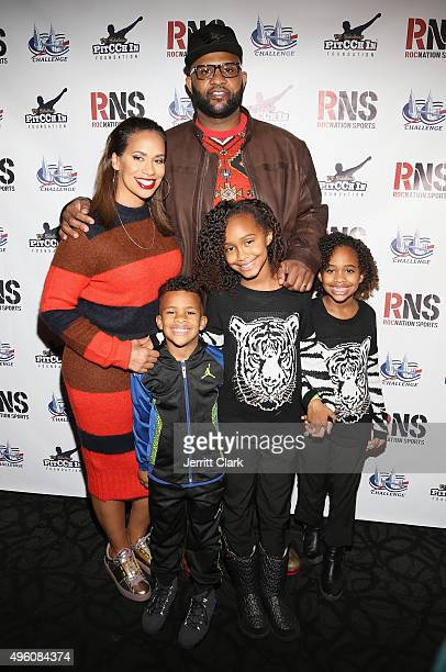 Yankees Pitcher CC Sabathia and wife Amber Sabathia pose with their kids Jayden Cyia and Carter at their PitCCh In Foundation's 5th Annual CC...