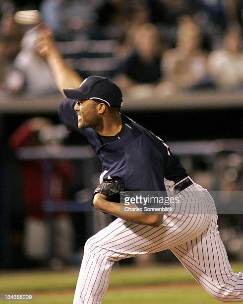 Yankees pitcher Mariano Rivera comes in to pitch one inning in a spring training game against the Reds on March 7 2007 at Legends Field in Tampa...
