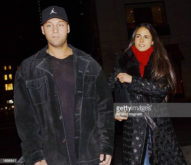 Yankees shortstop Derek Jeter and his girlfriend actress Jordana Brewster leave Barney's December 22 2002 in New York City