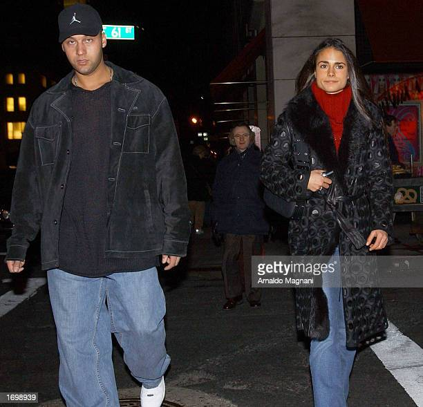 Yankees' shortstop Derek Jeter and his girlfriend Jordana Brewster leave Barney's December 22 2002 in New York City