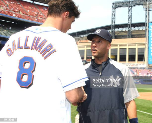 Yankees shortstop Derek Jeter gets together with New York Knicks first round draft pick Danilio Gallinari on June 28, 2008 at Shea Stadium in...